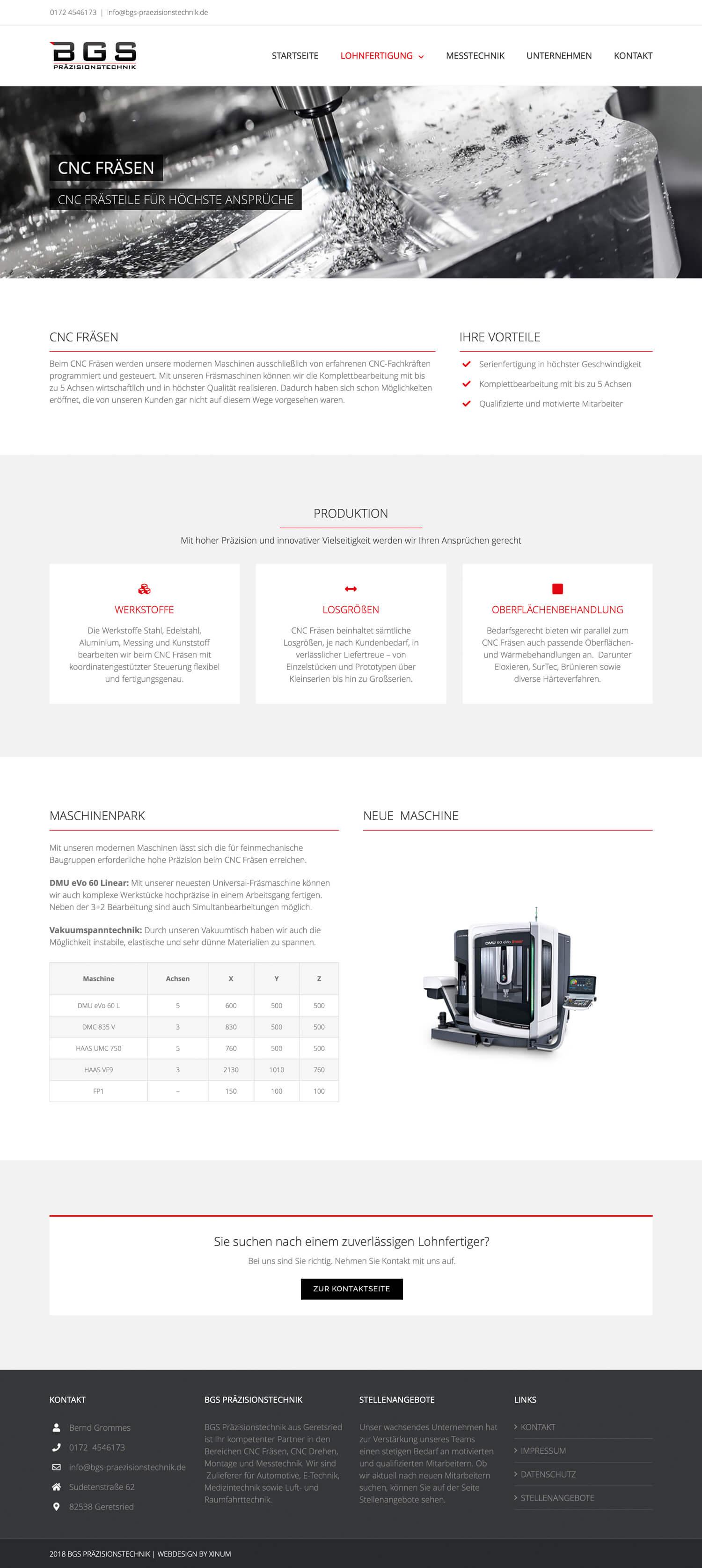 Website BGS Präzisionstechnik
