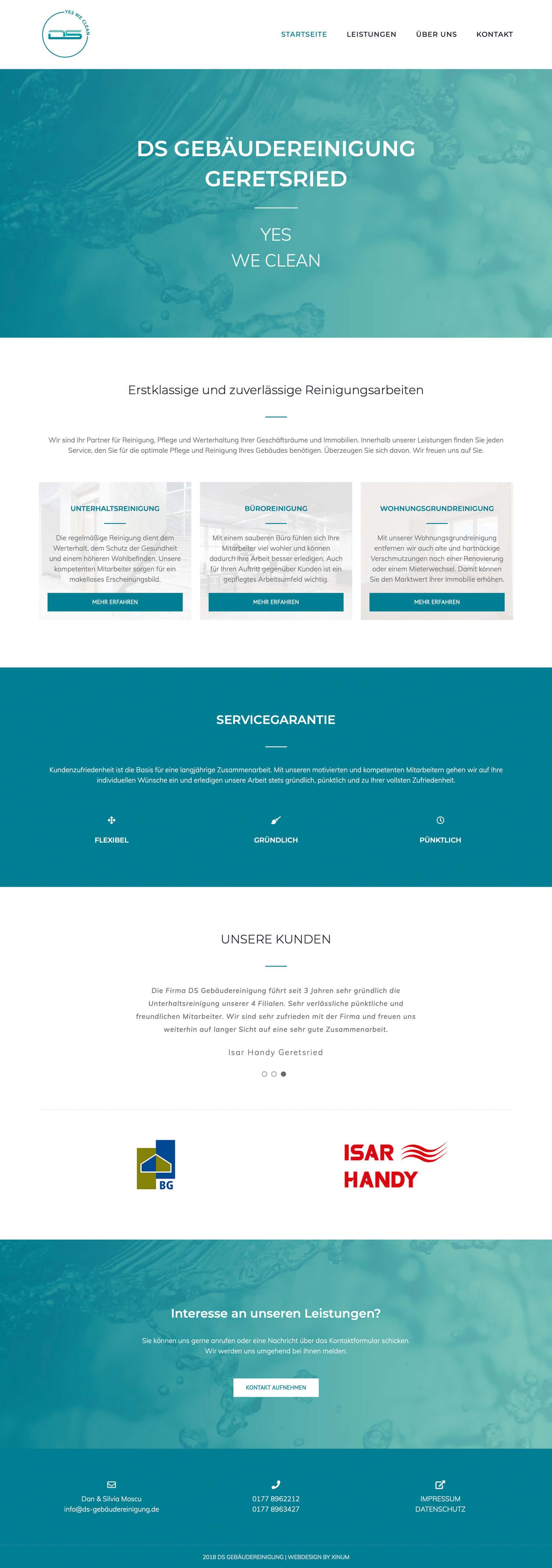 Website DS Gebäudereinigung