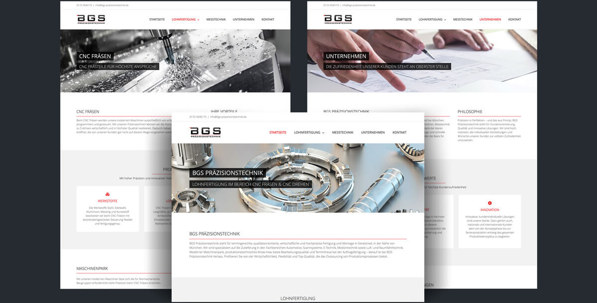 Website BGS Präzisionstechnik