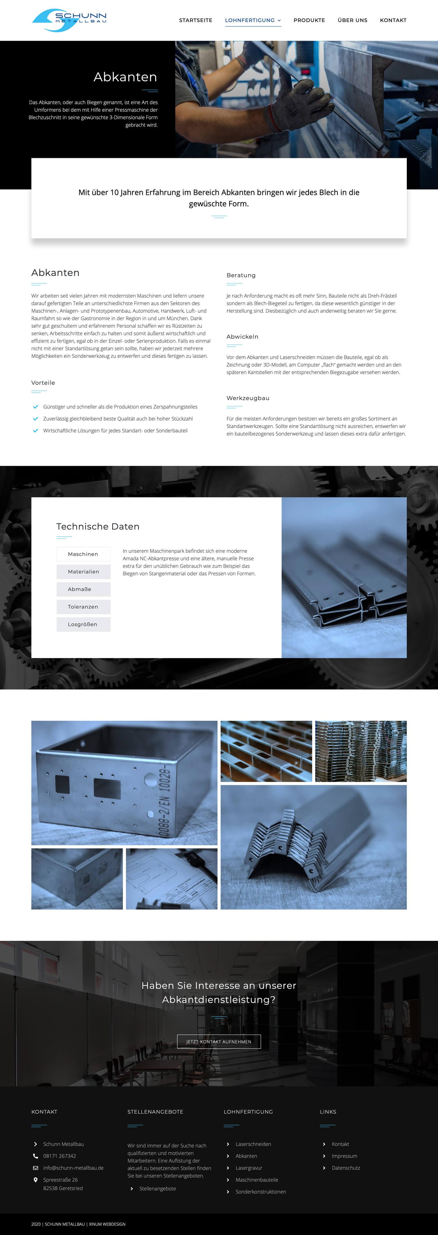 Website Schunn Metallbau